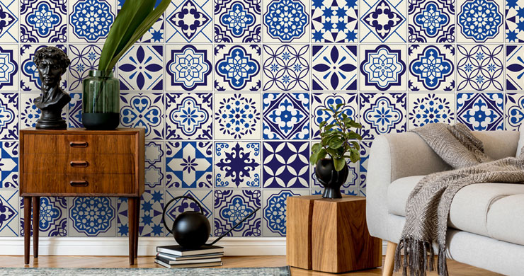 ornate blue and white tile wallpaper in trendy lounge