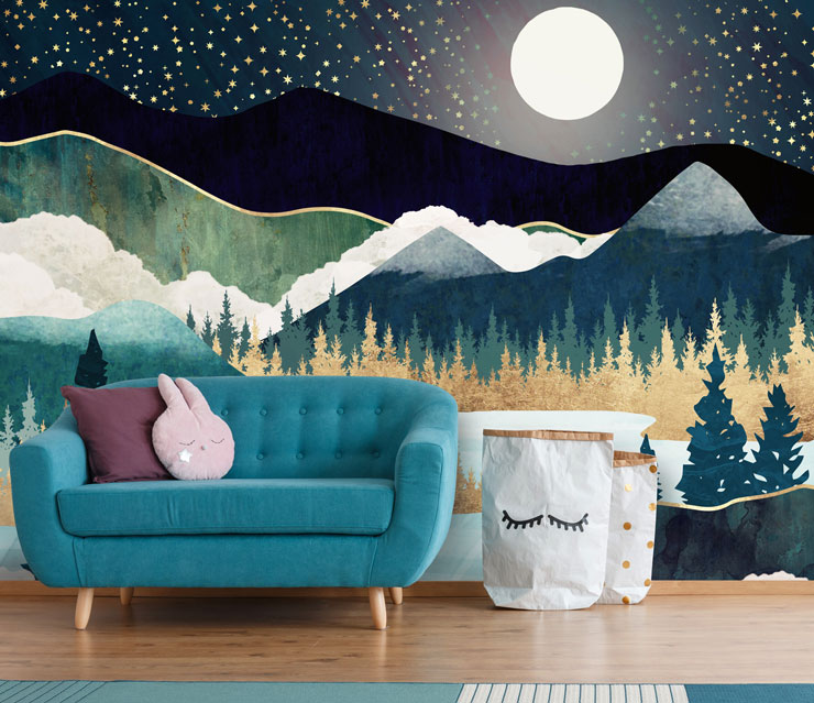 mixed marble and blue abstract mountain wall mural in child's bedroom