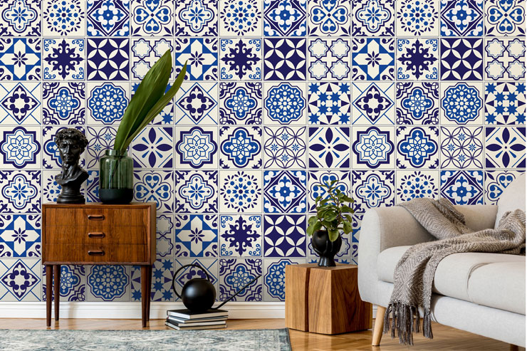 blue and white turkish tile effect wallpaper in stylish lounge