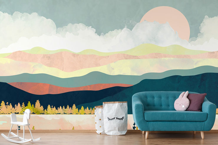 abstract mountain scene in pastel tones wallpaper in child's bedroom