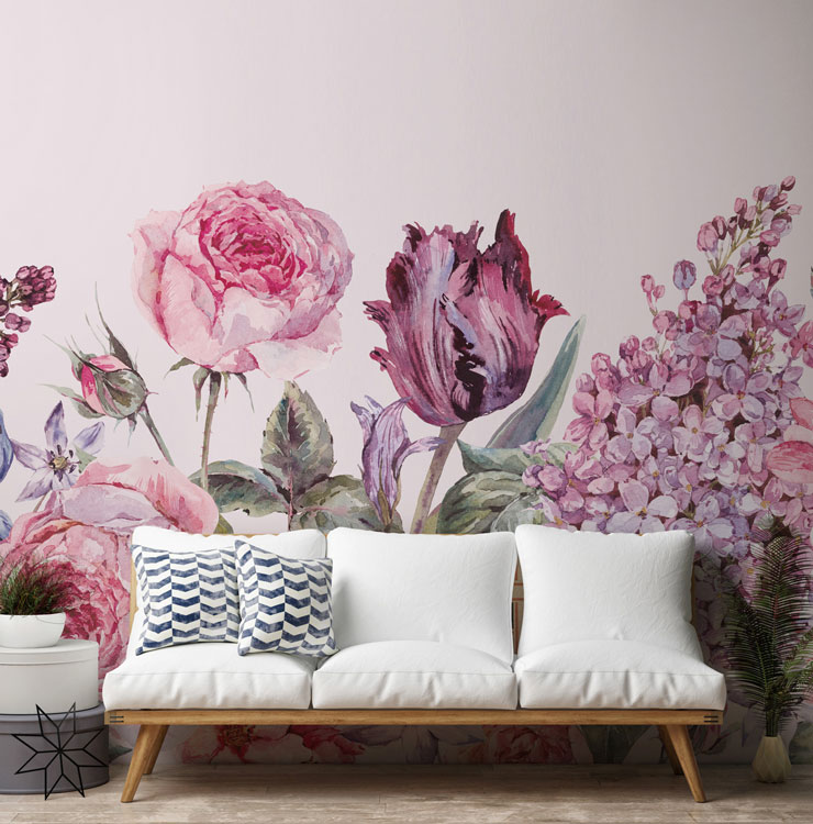 pastel purple and pink meadow flowers growing from floor wallpaper in trendy lounge