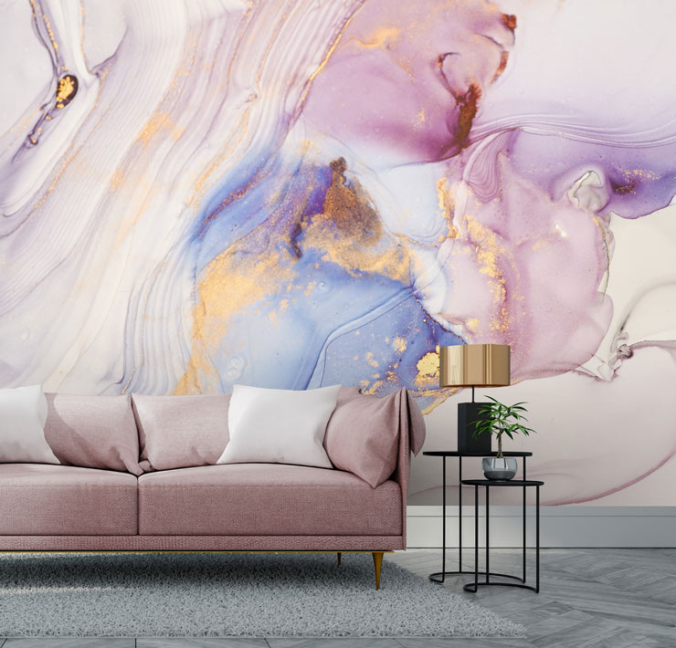 lilac, pink and gold effect marble wallpaper in pink and rose gold themed lounge