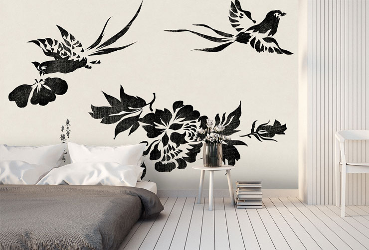 black and white printed large pheasants wallpaper in minimalist bedroom