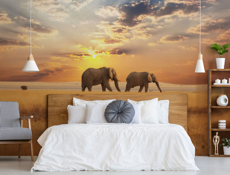 two elephants walking in dry landscape under sunset sky wall mural in stylish master bedroom
