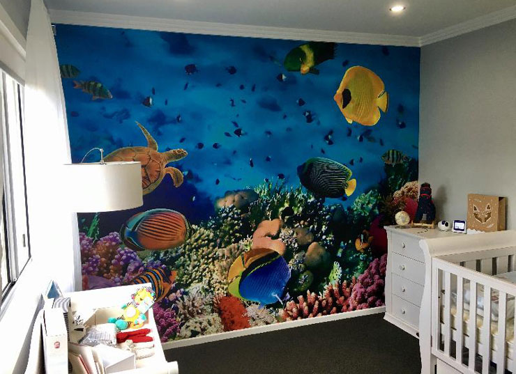 tropical fish wall mural in white decor nursery wallpaper