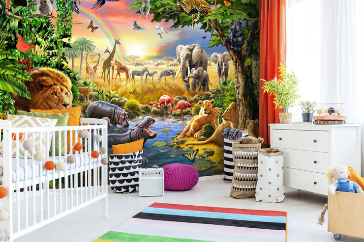 colourful and detailed illustration of safari wildlife wallpaper in stylish nursery