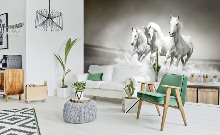 black and white image of horses running on a beach wallpaper in stylish lounge