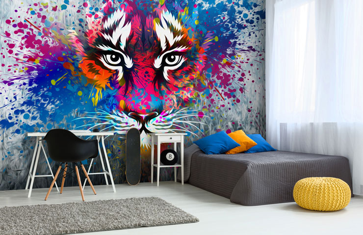tiger graffiti on wall behind bed in teenager trendy bedroom