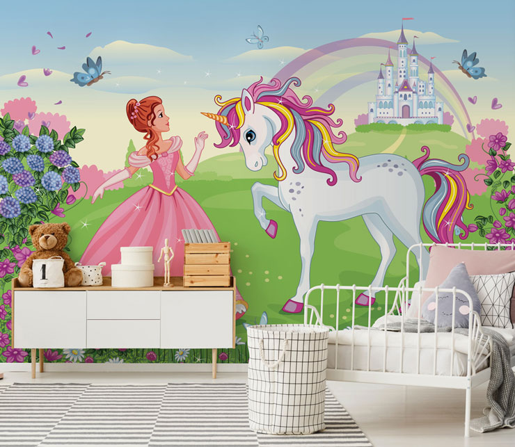 cartoon princess in pink dress with white unicorn with colourful mane wallpaper in girl's bedroom
