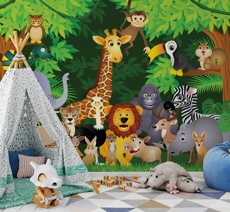 cartoon safari animals in a jungle wall mural in fun child's bedroom
