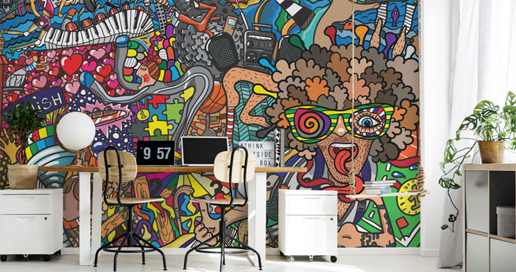 graffiti style cartoon wallpaper in trendy home office