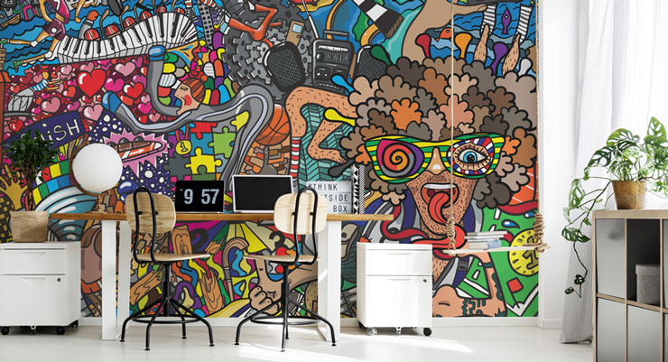 cool cartoon graffiti in trendy home office