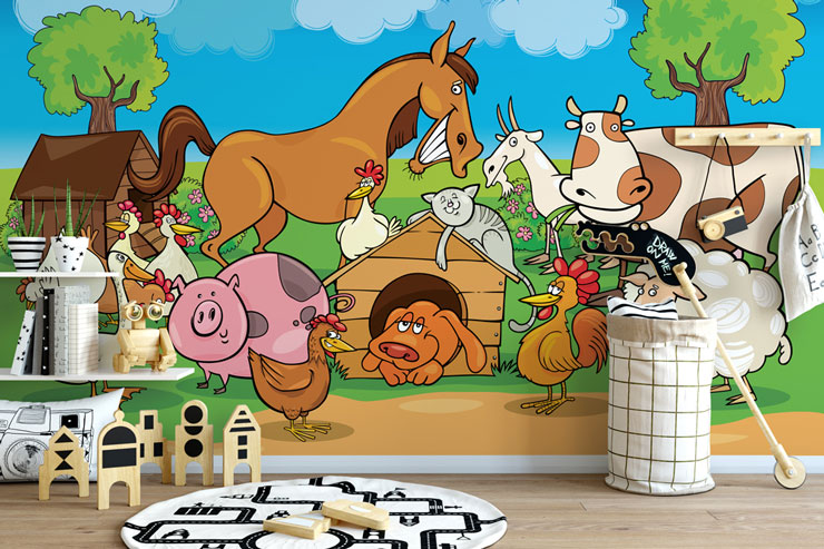 cartoon farm animals wallpaper in modern child's bedroom
