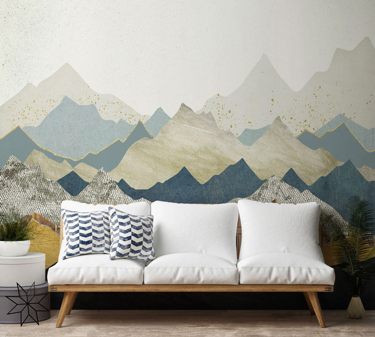 abstract mountain view with marble textures wall mural with white and blue sofa