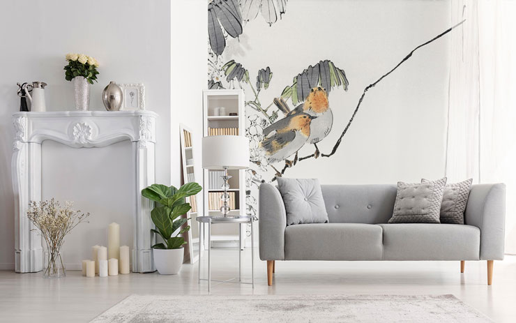 oriental orange breasted sparrows on branch minimalist wallpaper in quaint white and grey living room