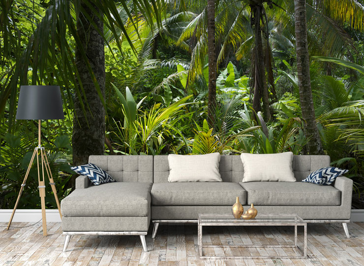 luscious green tropical jungle in modern lounge
