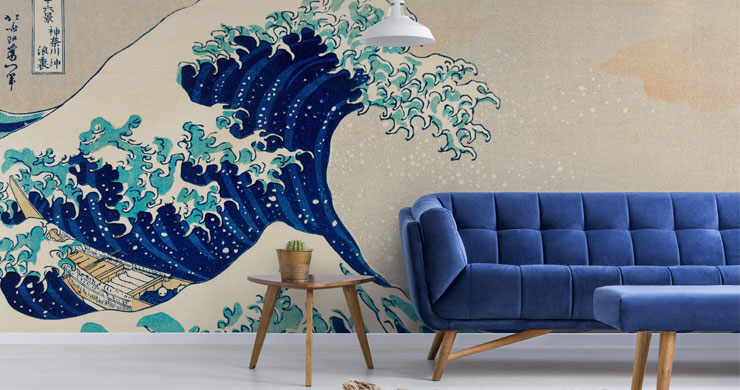 japanese art of wave in lounge with blue sofa and foot stool