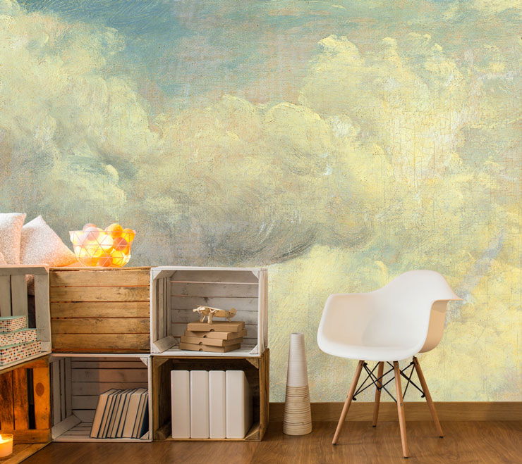 painted clouds art wallpaper in trendy room