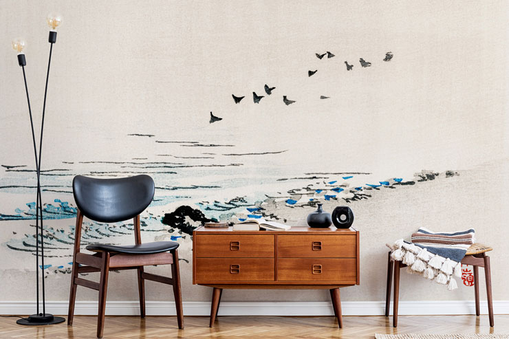 simple japanese art of beach in sleek lounge