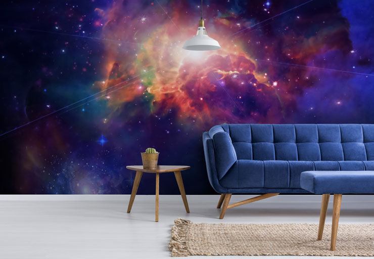 rainbow nebula in navy space sky in trendy blue lounge