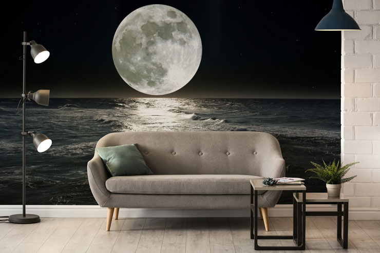 black and white moon reflecting on water in trendy grey open loft apartment