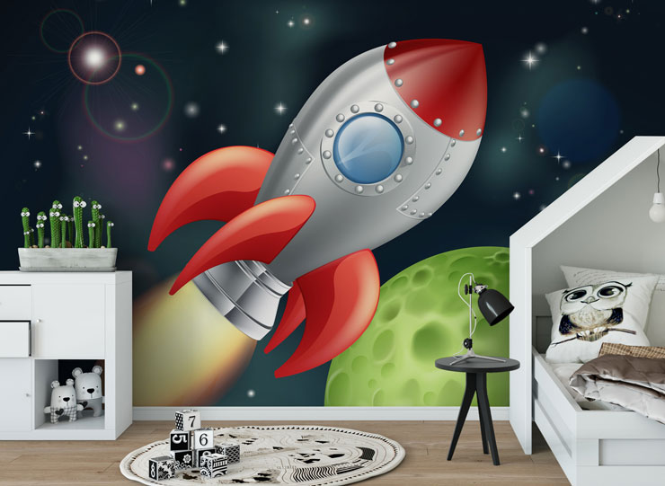 cartoon drawing of a rocket in space in child's modern nursery