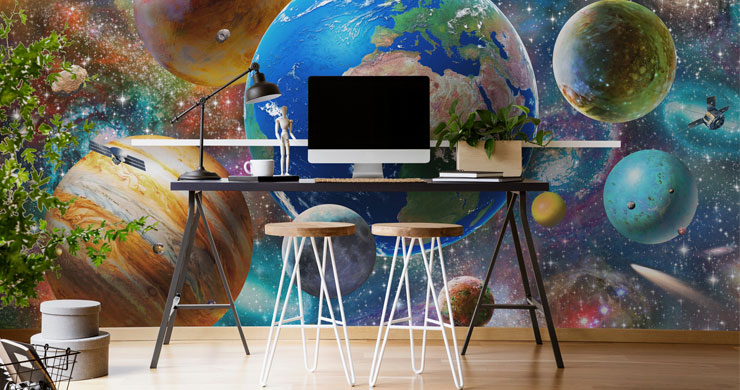 colourful illustrated solar system wall mural in cool home office