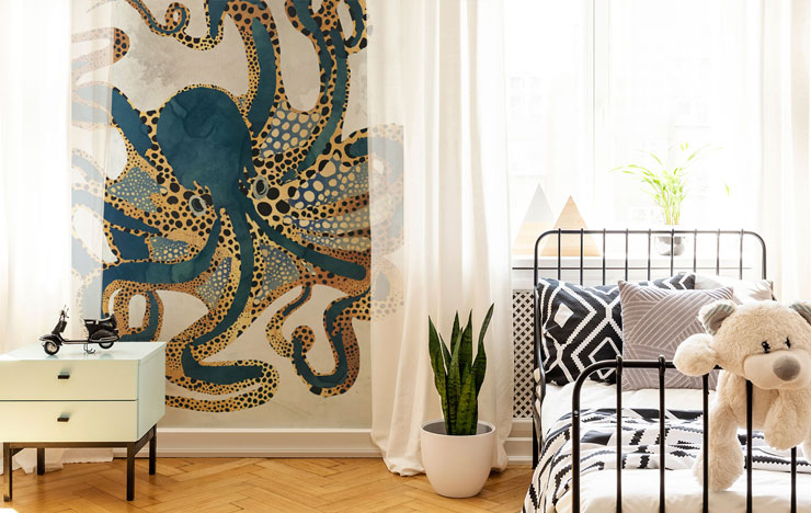 gold and navy octopus wall mural in white bedroom