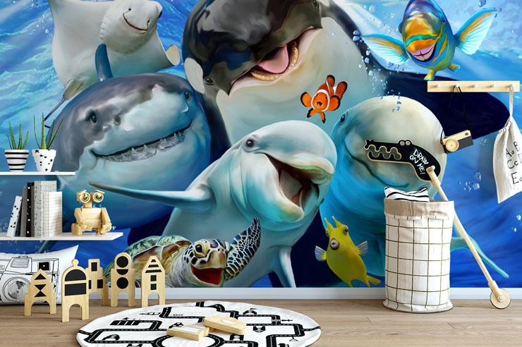 ocean creatures smiling having a selfie ocean wallpaper in child's bedroom