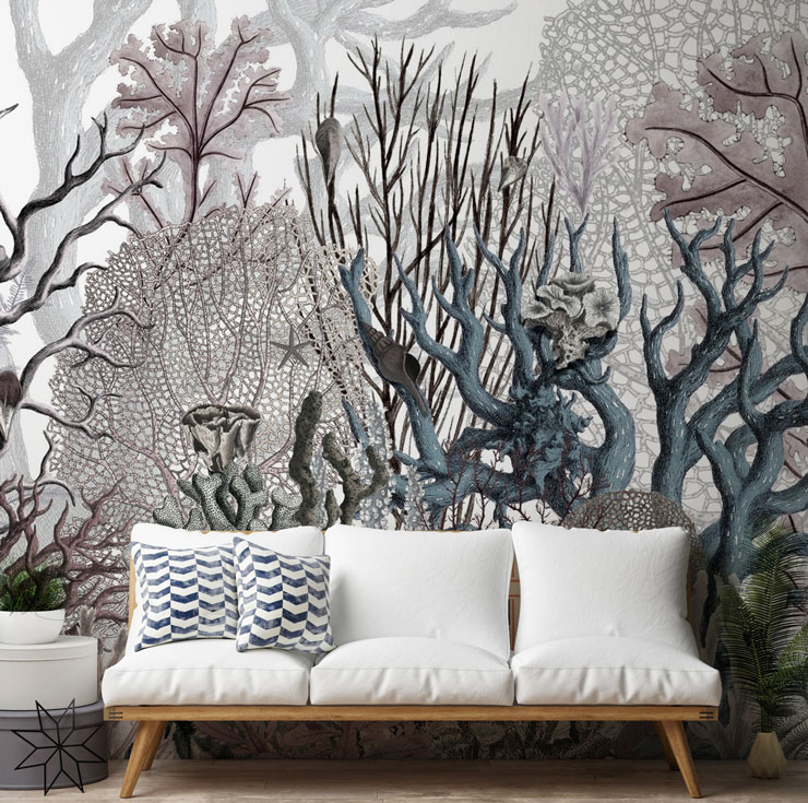 pastel grey, lilac and blue vintage coral illustrated wallpaper in modern lounge