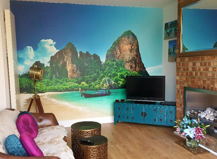 Thailand beach with white sands and vertical rock formations wallpaper in oriental styled lounge