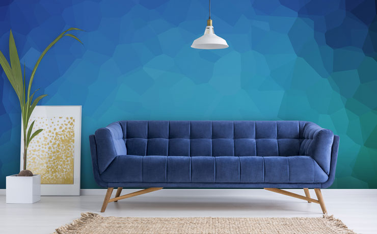 blue abstract wall art wallpaper in blue themed lounge