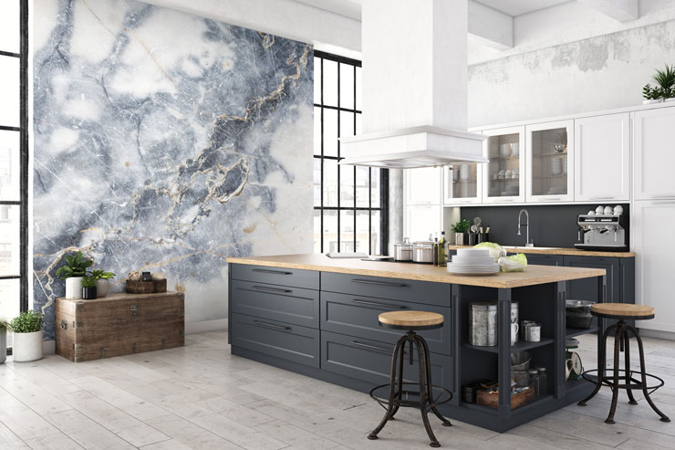 blue and white marble in trendy open plan kitchen