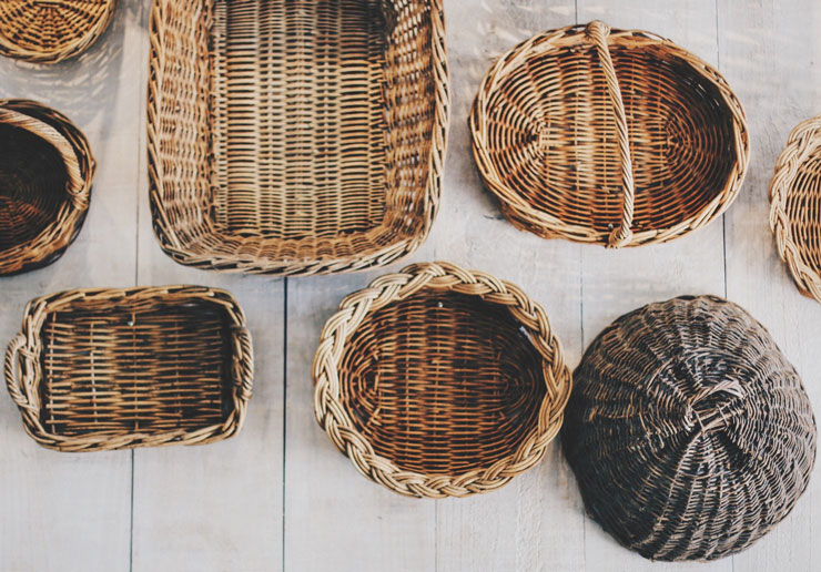 mix of wicker baskets on floor