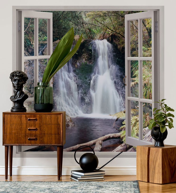 white window panes with a tropical waterfall view wallpaper in stylish and classic lounge