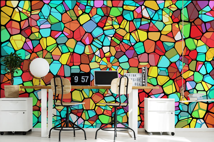 colourful stained glass wall mural in modern office