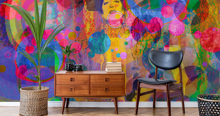 abstract and colourful portrait wallpaper in trendy room