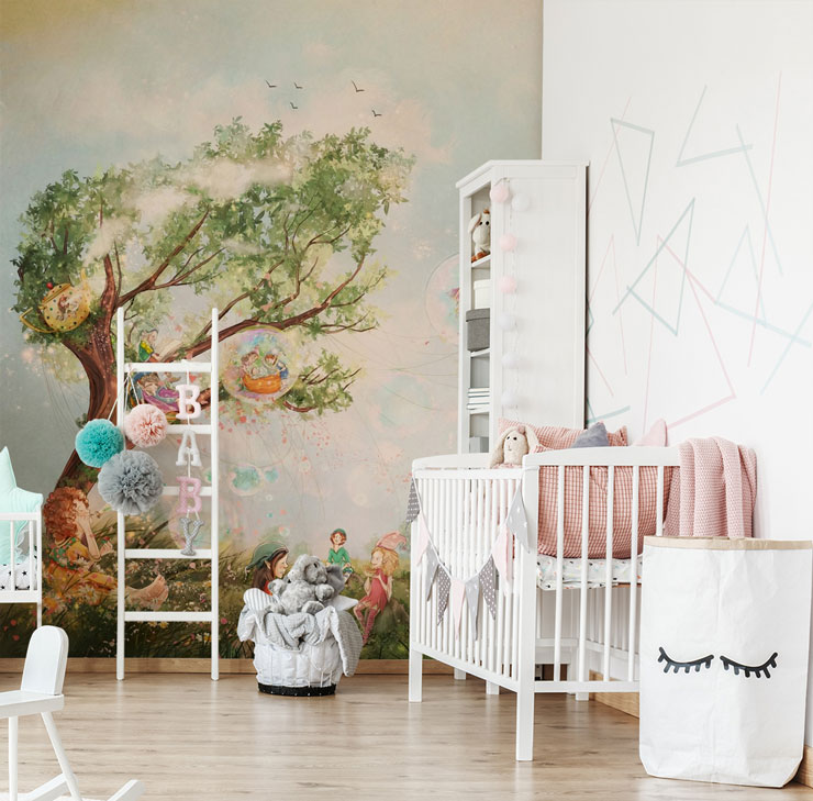 pixies in meadow with magic tree and hot air balloon wallpaper in cute nursery