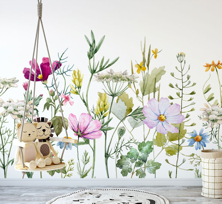 illustrated flowers on white background wallpaper in baby's nursery with swinging chair