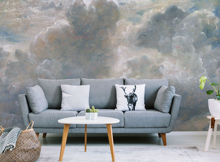 antique painted art of clouds wall mural in grey themed lounge