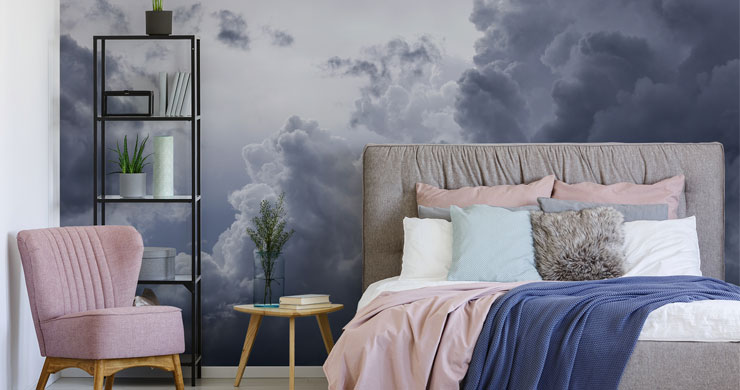 grey rain clouds in pink and grey modern bedroom