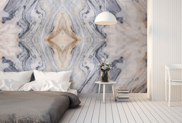 grey and blue zig zag marble wall mural in minimalist bedroom
