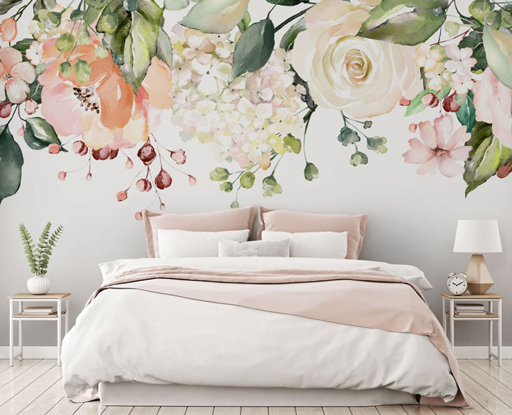 pretty flowers hanging from ceiling on white background wallpaper in pink and white bedroom