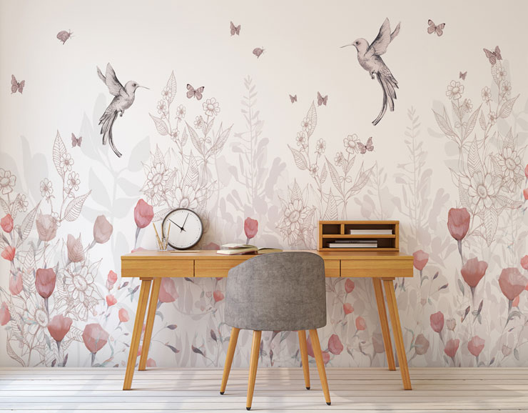hummingbird and pink flowers on pale pink background wallpaper in trendy home office