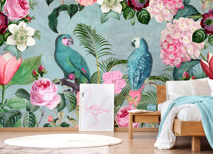 tropical wallpaper with blue birds and pink flowers wallpaper in trendy bedroom