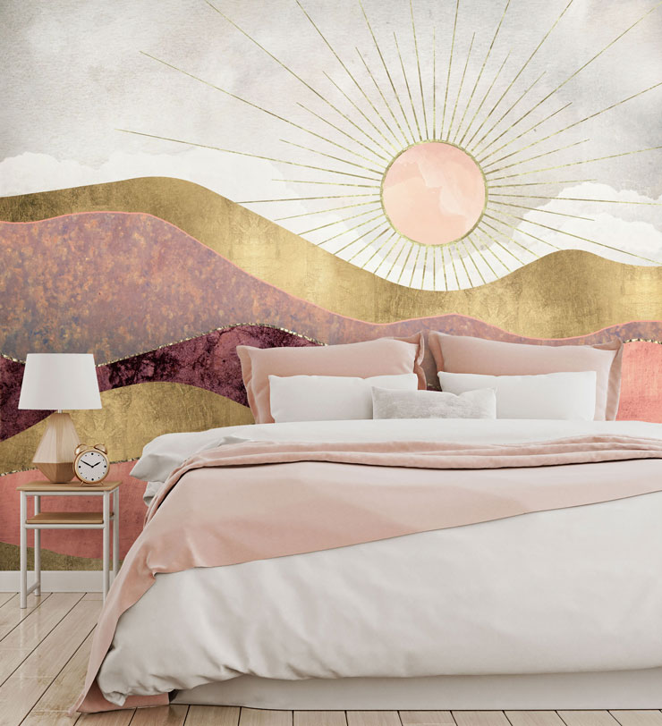gold, rose gold and pink marble abstract hills wallpaper in pink and white bedroom