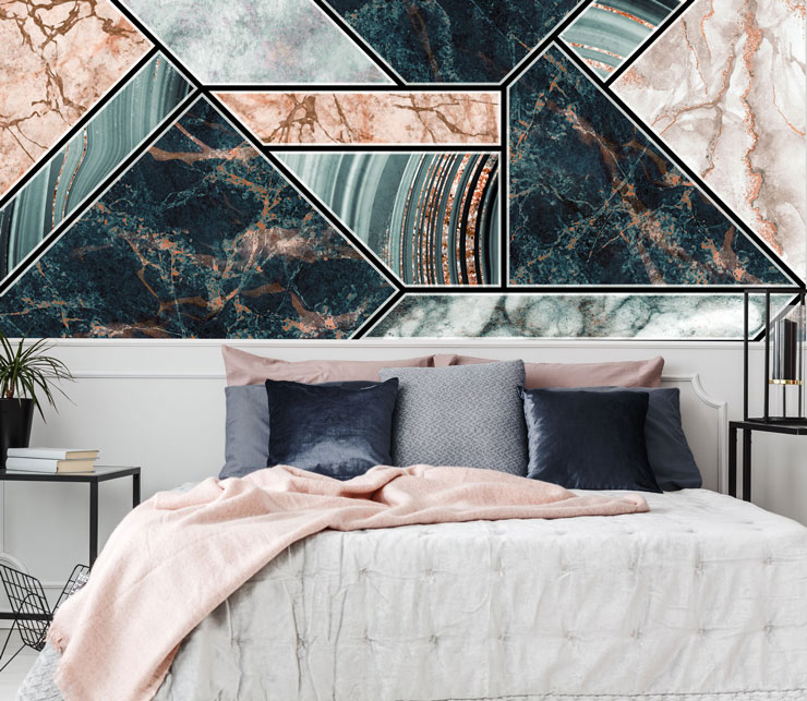 art deco pink and navy marble tiles wallpaper in beautiful grey and pink bedroom