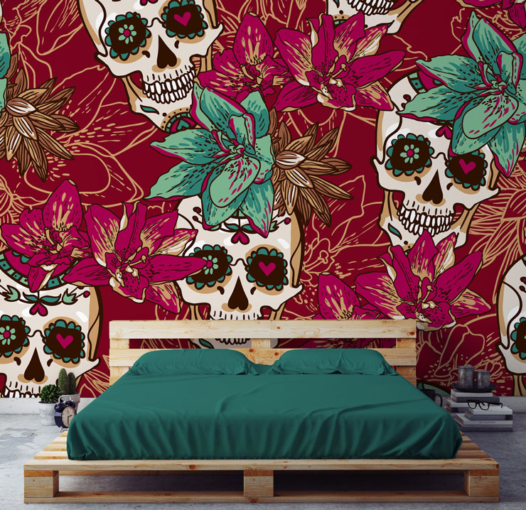 pink and green mexican flowers and skulls wall mural with green bed