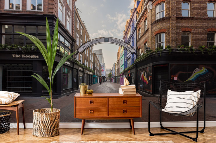 london carnaby street lockdown wallpaper in trendy lounge