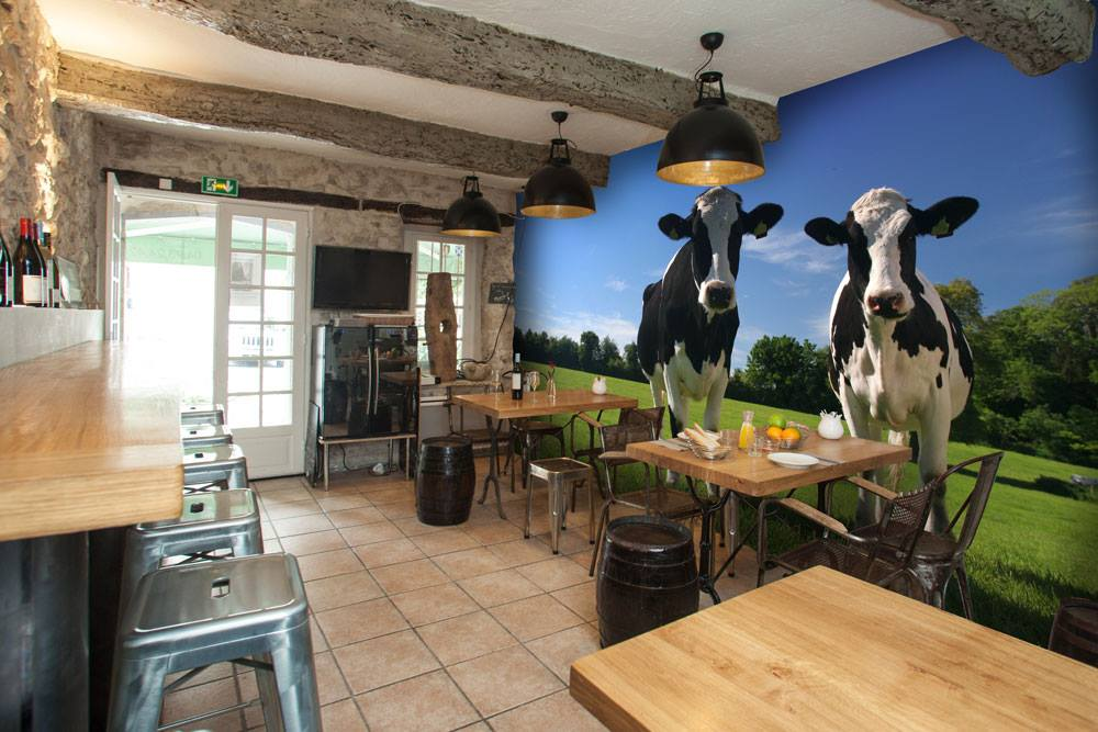 Restaurant wall murals restaurant photo wallpaper for Cafe mural wallpaper